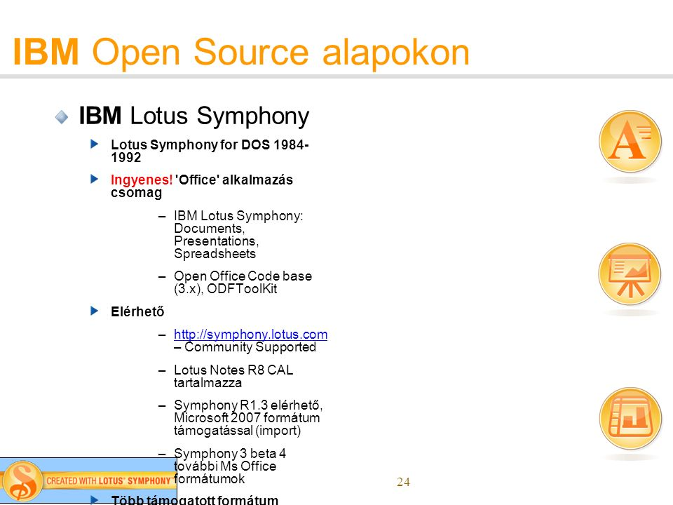 24 IBM Open Source alapokon IBM Lotus Symphony Lotus Symphony for DOS 1984- 1992 Ingyenes.