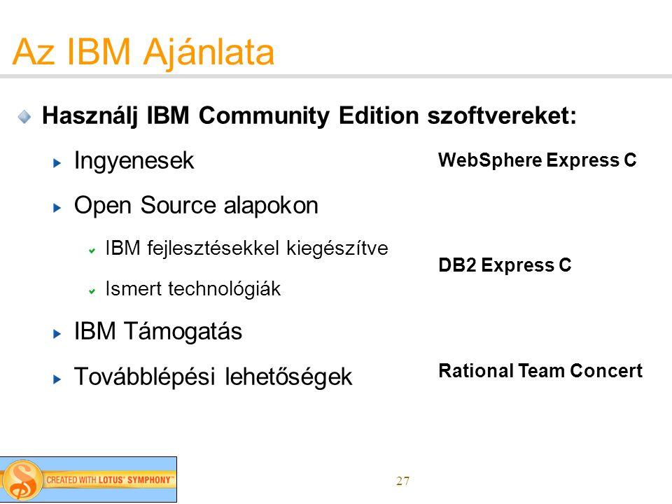 27 Az IBM Ajánlata Használj IBM Community Edition szoftvereket: Ingyenesek Open Source alapokon IBM fejlesztésekkel kiegészítve Ismert technológiák IBM Támogatás Továbblépési lehetőségek WebSphere Express C DB2 Express C Rational Team Concert
