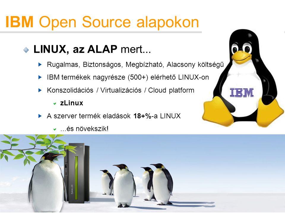 8 IBM Open Source alapokon LINUX, az ALAP mert...