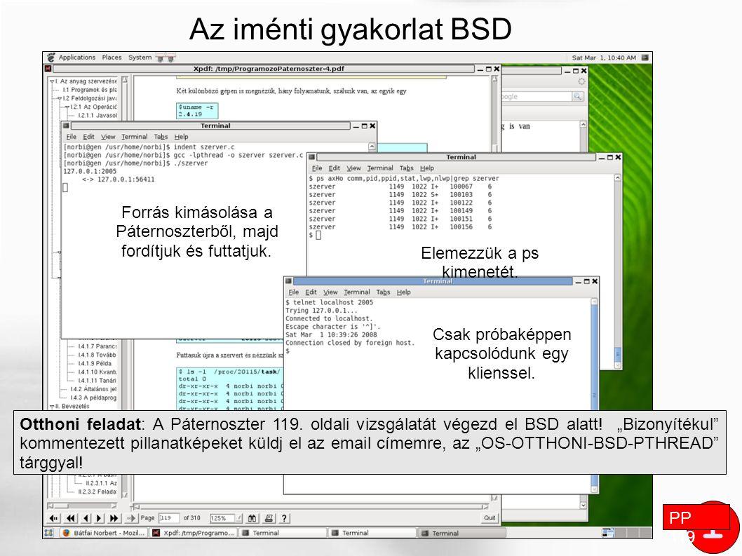 """i Az iménti gyakorlat BSD alatt PP 119 Otthoni feladat: A Páternoszter 119. oldali vizsgálatát végezd el BSD alatt! """"Bizonyítékul"""" kommentezett pillan"""