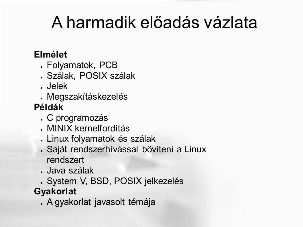 A harmadik előadás vázlata Elmélet ● Folyamatok, PCB ● Szálak, POSIX szálak ● Jelek ● Megszakításkezelés Példák ● C programozás ● MINIX kernelfordítás ● Linux folyamatok és szálak ● Saját rendszerhívással bővíteni a Linux rendszert ● Java szálak ● System V, BSD, POSIX jelkezelés Gyakorlat ● A gyakorlat javasolt témája