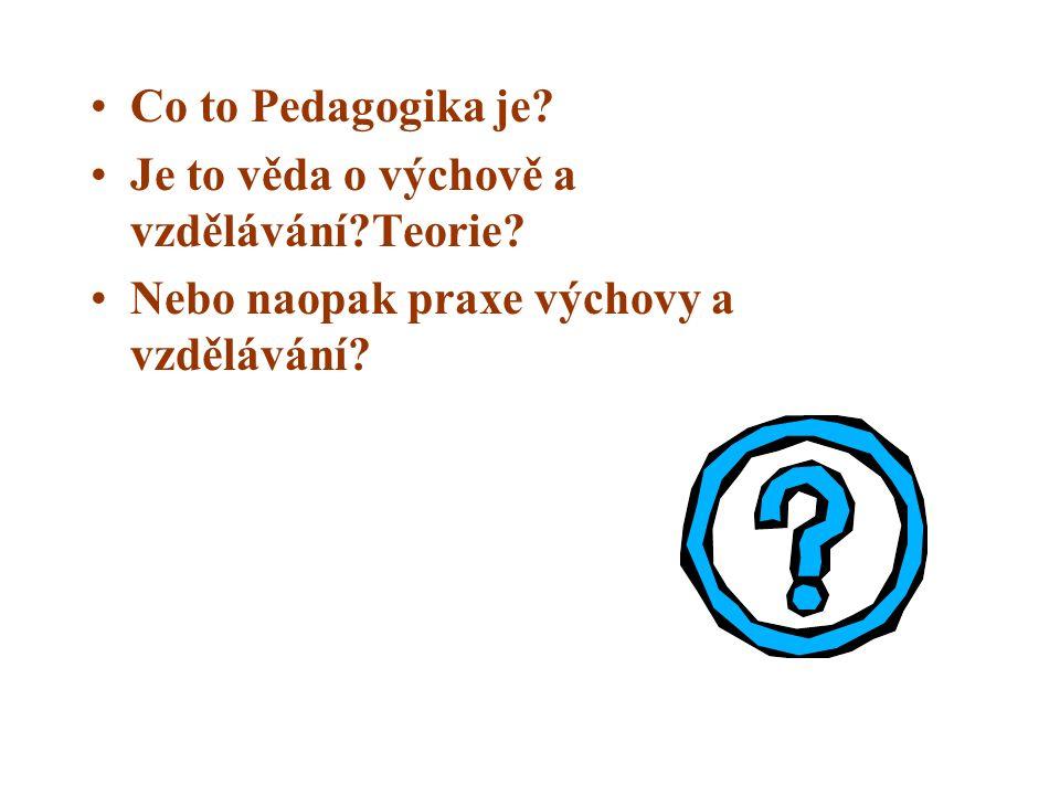Co to Pedagogika je? Je to věda o výchově a vzdělávání?Teorie? Nebo naopak praxe výchovy a vzdělávání?