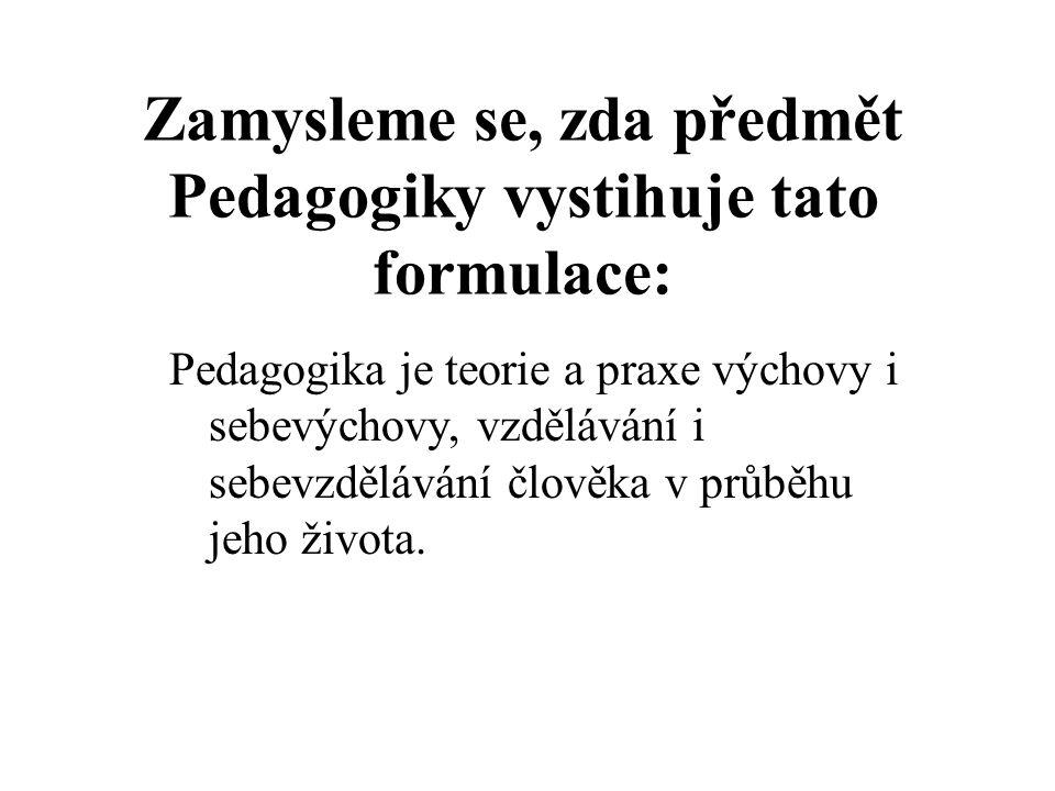 Zamysleme se, zda předmět Pedagogiky vystihuje tato formulace: Pedagogika je teorie a praxe výchovy i sebevýchovy, vzdělávání i sebevzdělávání člověka v průběhu jeho života.