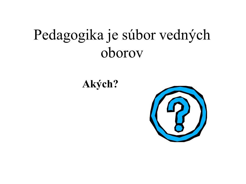 Pedagogika je súbor vedných oborov Akých?