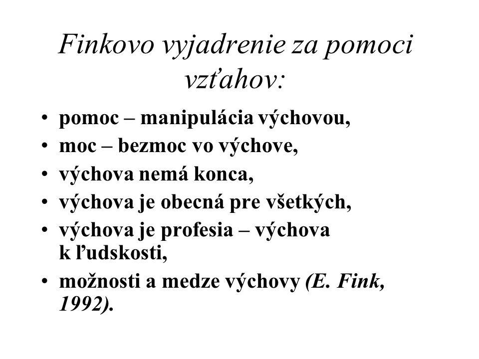 Finkovo vyjadrenie za pomoci vzťahov: pomoc – manipulácia výchovou, moc – bezmoc vo výchove, výchova nemá konca, výchova je obecná pre všetkých, výcho
