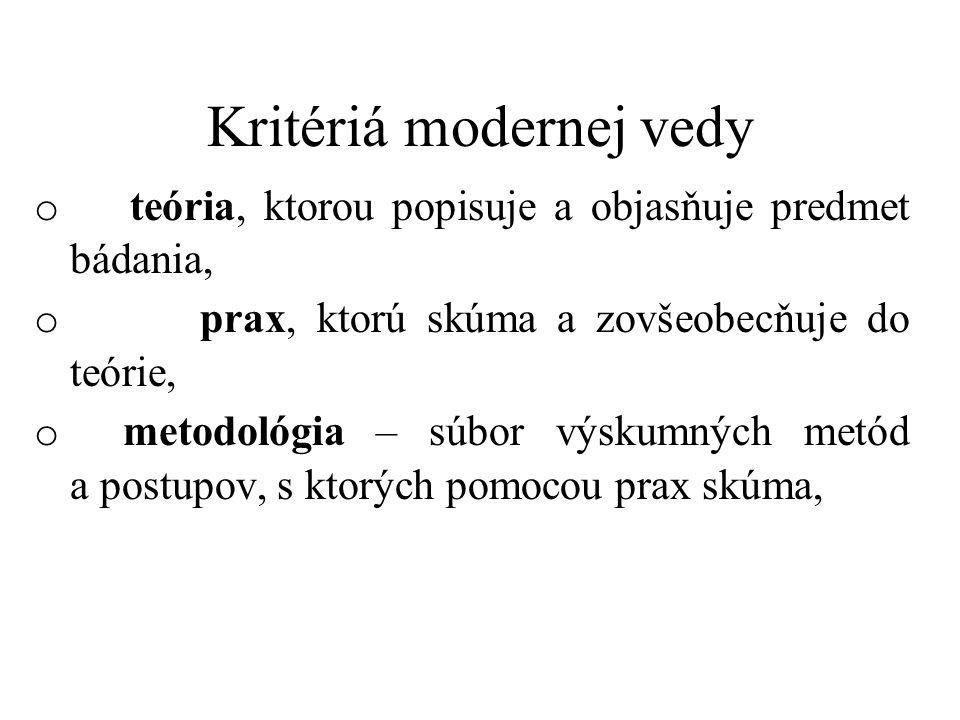 Kritériá modernej vedy o teória, ktorou popisuje a objasňuje predmet bádania, o prax, ktorú skúma a zovšeobecňuje do teórie, o metodológia – súbor výs