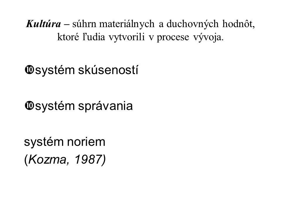 Kultúra – súhrn materiálnych a duchovných hodnôt, ktoré ľudia vytvorili v procese vývoja.  systém skúseností  systém správania systém noriem (Kozma,