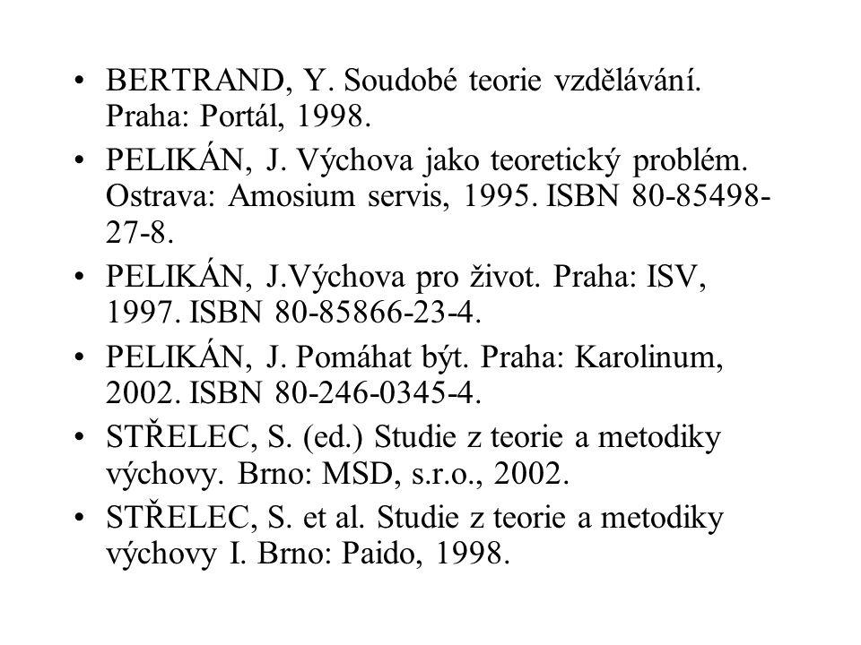 BERTRAND, Y. Soudobé teorie vzdělávání. Praha: Portál, 1998. PELIKÁN, J. Výchova jako teoretický problém. Ostrava: Amosium servis, 1995. ISBN 80-85498
