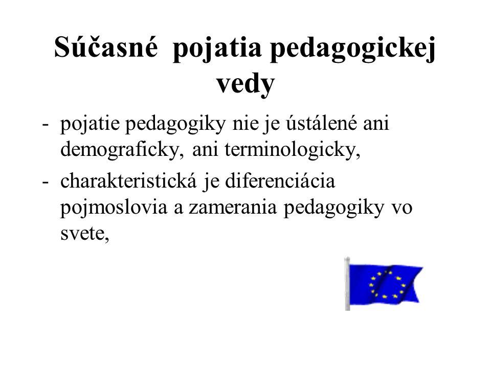 Súčasné pojatia pedagogickej vedy -pojatie pedagogiky nie je ústálené ani demograficky, ani terminologicky, -charakteristická je diferenciácia pojmoslovia a zamerania pedagogiky vo svete,