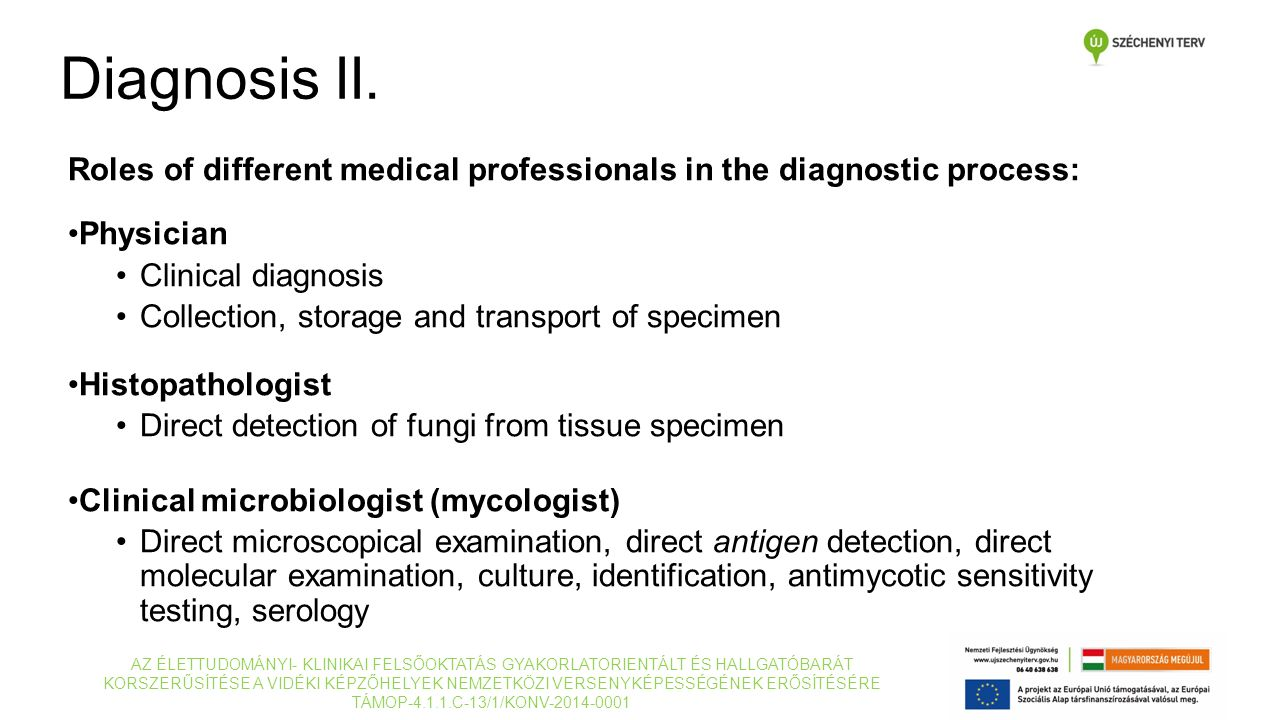 Roles of different medical professionals in the diagnostic process: Physician Clinical diagnosis Collection, storage and transport of specimen Histopa