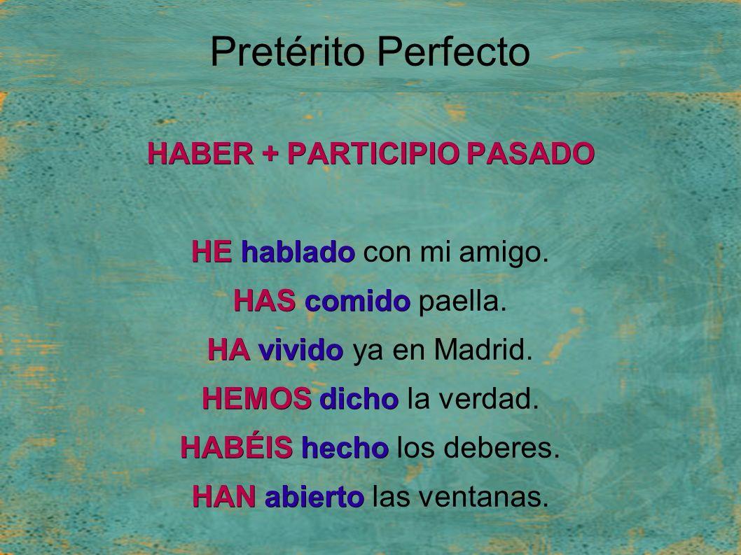 Pretérito Perfecto HABER + PARTICIPIO PASADO HEhablado HE hablado con mi amigo.