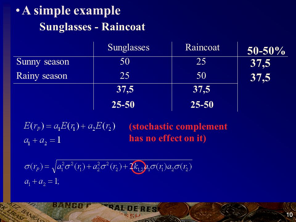 10 Sunglasses - Raincoat 37,5 37,5 25-50 25-50 37,5 50-50% Sunglasses Raincoat Sunny season 50 25 Rainy season 25 50 (stochastic complement has no effect on it) A simple example