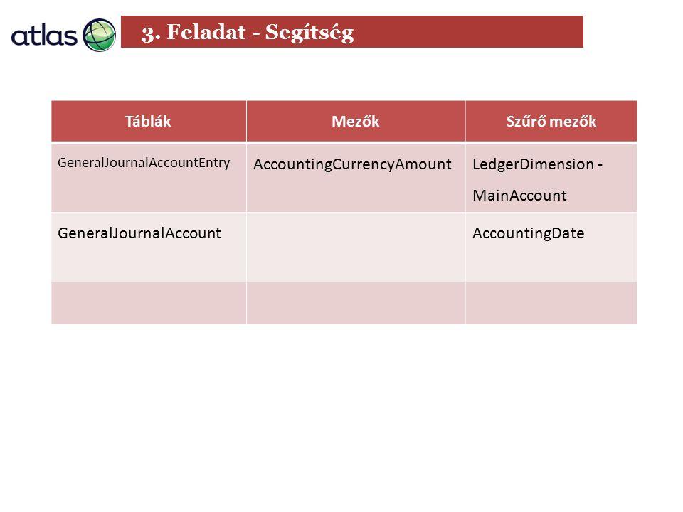 3. Feladat - Segítség TáblákMezőkSzűrő mezők GeneralJournalAccountEntry AccountingCurrencyAmount LedgerDimension - MainAccount GeneralJournalAccountAc