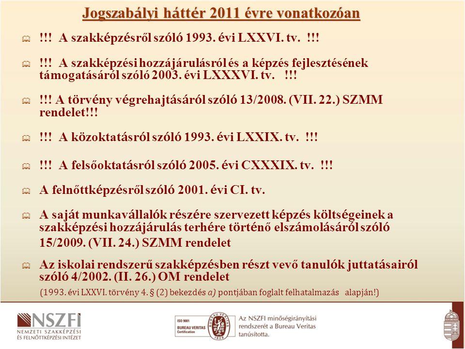 Jogszab á lyi h á tt é r 2011 évre vonatkozóan  !!! A szakk é pz é sről sz ó l ó 1993. é vi LXXVI. tv. !!!  !!! A szakképzési hozzájárulásról és a k