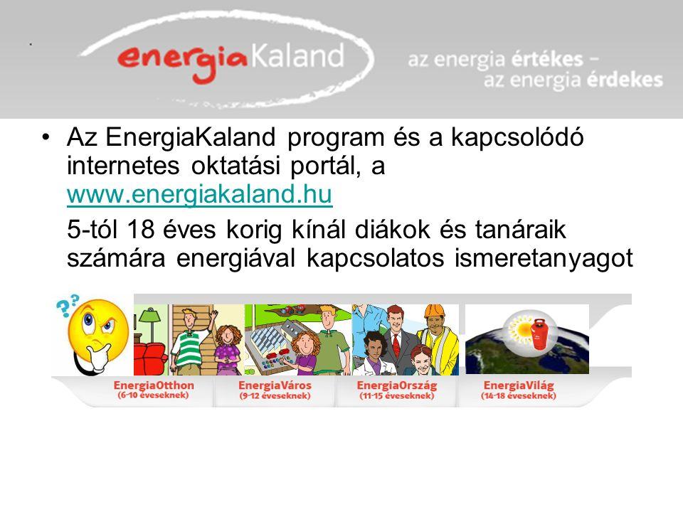 Az EnergiaKaland program és a kapcsolódó internetes oktatási portál, a www.energiakaland.hu www.energiakaland.hu 5-tól 18 éves korig kínál diákok és tanáraik számára energiával kapcsolatos ismeretanyagot
