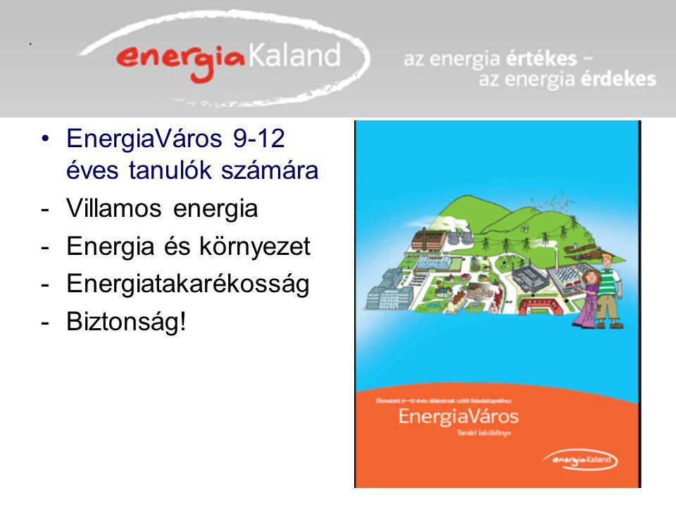 EnergiaVáros 9-12 éves tanulók számára -Villamos energia -Energia és környezet -Energiatakarékosság -Biztonság!
