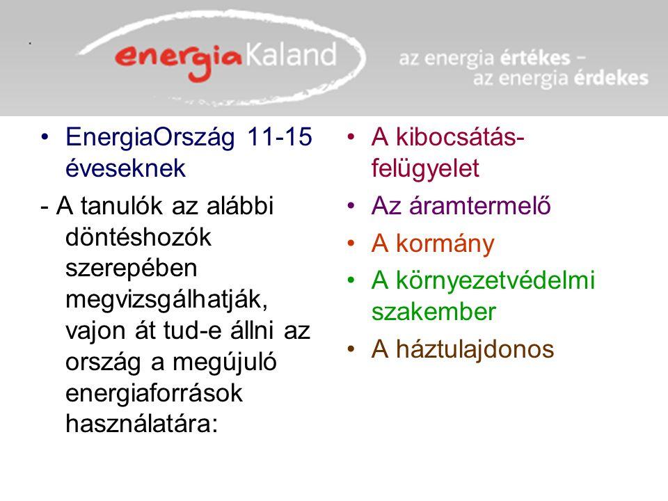 EnergiaOrszág 11-15 éveseknek - A tanulók az alábbi döntéshozók szerepében megvizsgálhatják, vajon át tud-e állni az ország a megújuló energiaforrások használatára: A kibocsátás- felügyelet Az áramtermelő A kormány A környezetvédelmi szakember A háztulajdonos