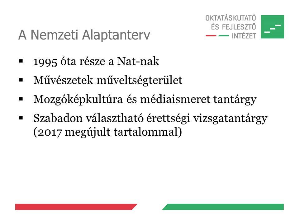 A Nemzeti Alaptanterv  1995 óta része a Nat-nak  Művészetek műveltségterület  Mozgóképkultúra és médiaismeret tantárgy  Szabadon választható érettségi vizsgatantárgy (2017 megújult tartalommal)