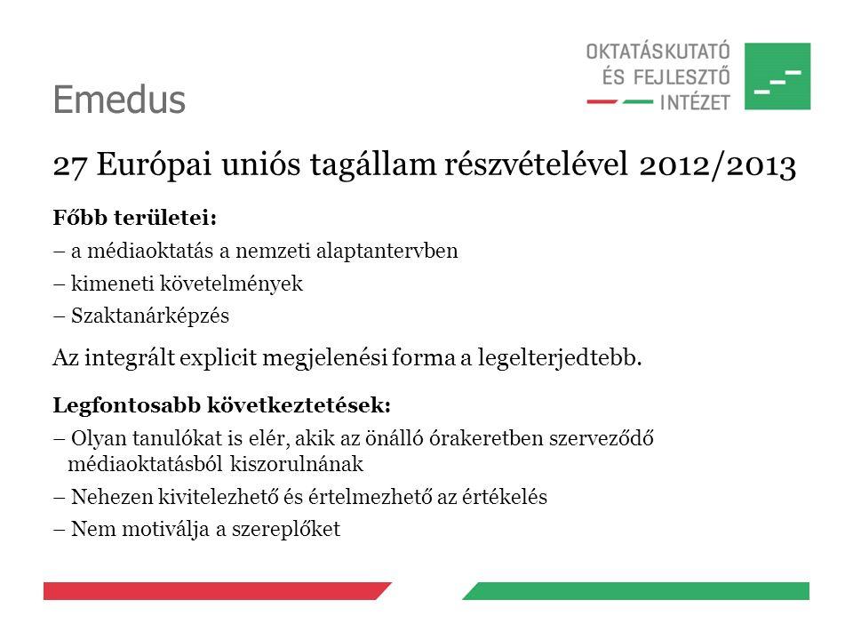 Emedus 27 Európai uniós tagállam részvételével 2012/2013 Főbb területei: – a médiaoktatás a nemzeti alaptantervben – kimeneti követelmények – Szaktanárképzés Az integrált explicit megjelenési forma a legelterjedtebb.