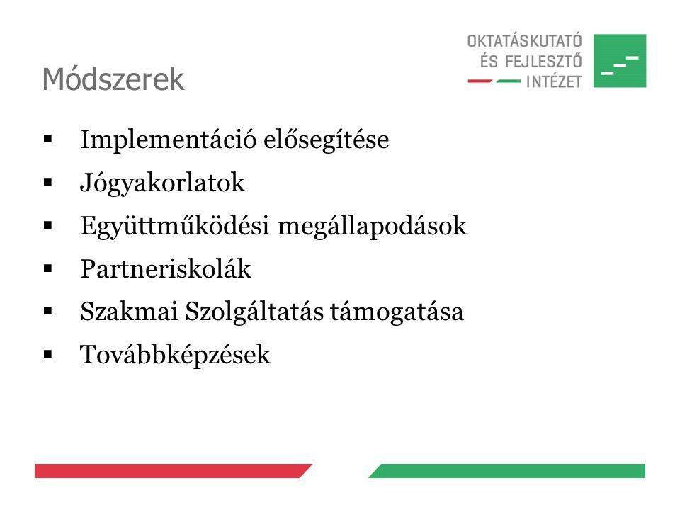 Módszerek  Implementáció elősegítése  Jógyakorlatok  Együttműködési megállapodások  Partneriskolák  Szakmai Szolgáltatás támogatása  Továbbképzések