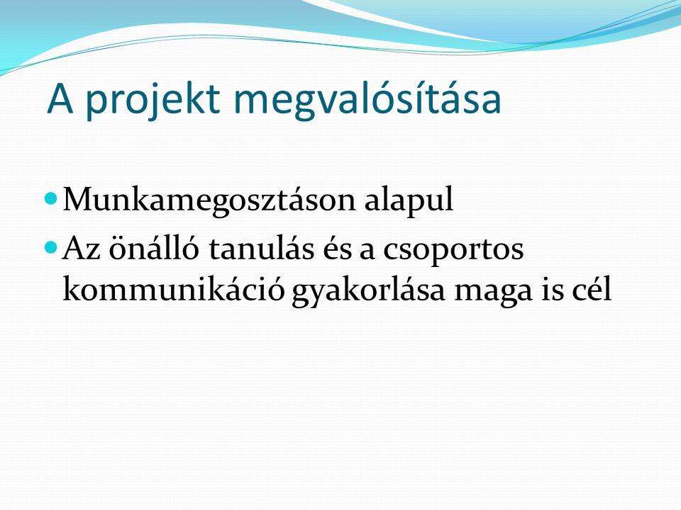 A projekt megvalósítása Munkamegosztáson alapul Az önálló tanulás és a csoportos kommunikáció gyakorlása maga is cél