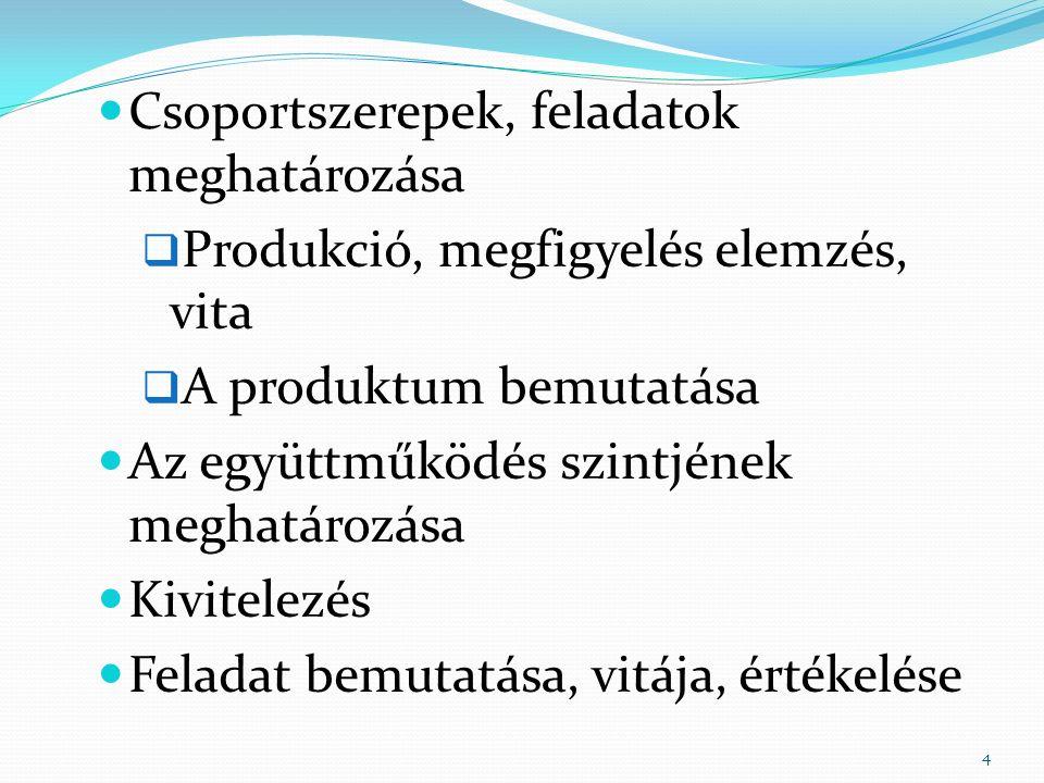 Csoportszerepek, feladatok meghatározása  Produkció, megfigyelés elemzés, vita  A produktum bemutatása Az együttműködés szintjének meghatározása Kivitelezés Feladat bemutatása, vitája, értékelése 4
