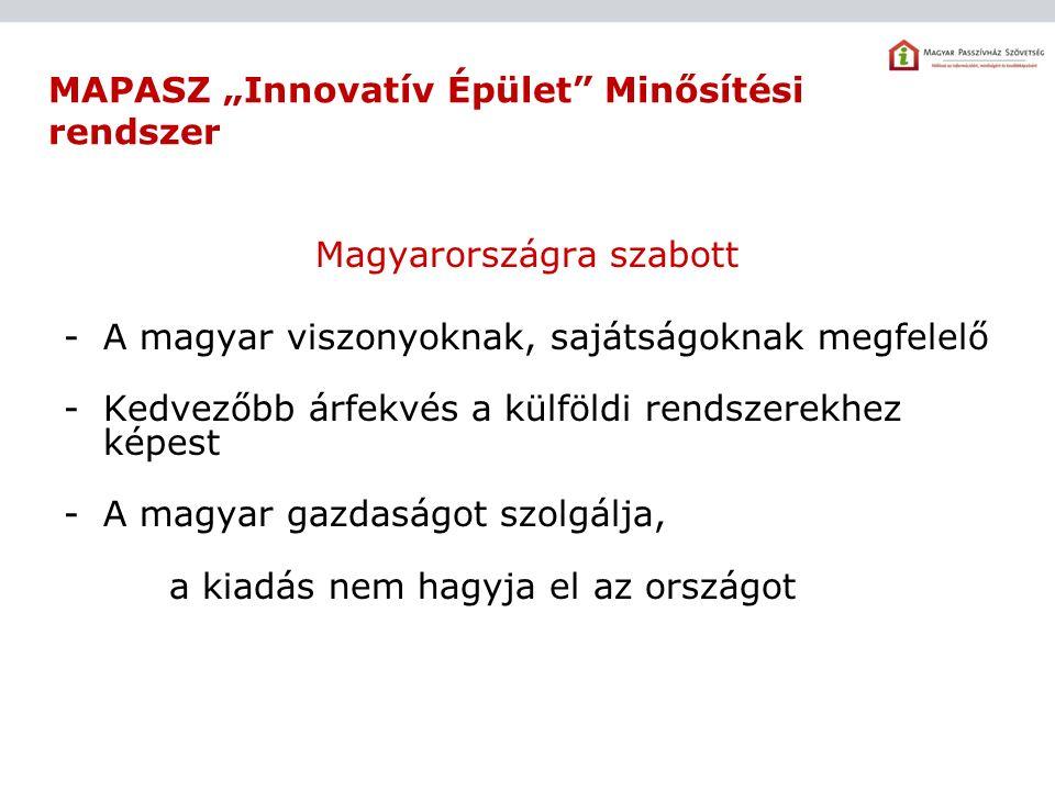 """MAPASZ """"Innovatív Épület Minősítési rendszer Magyarországra szabott -A magyar viszonyoknak, sajátságoknak megfelelő -Kedvezőbb árfekvés a külföldi rendszerekhez képest -A magyar gazdaságot szolgálja, a kiadás nem hagyja el az országot"""