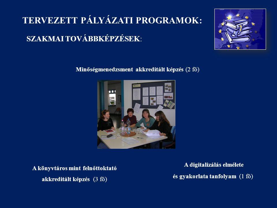 TERVEZETT PÁLYÁZATI PROGRAMOK: SZAKMAI TOVÁBBKÉPZÉSEK: Minőségmenedzsment akkreditált képzés (2 fő) A könyvtáros mint felnőttoktató akkreditált képzés (3 fő) A digitalizálás elmélete és gyakorlata tanfolyam (1 fő)
