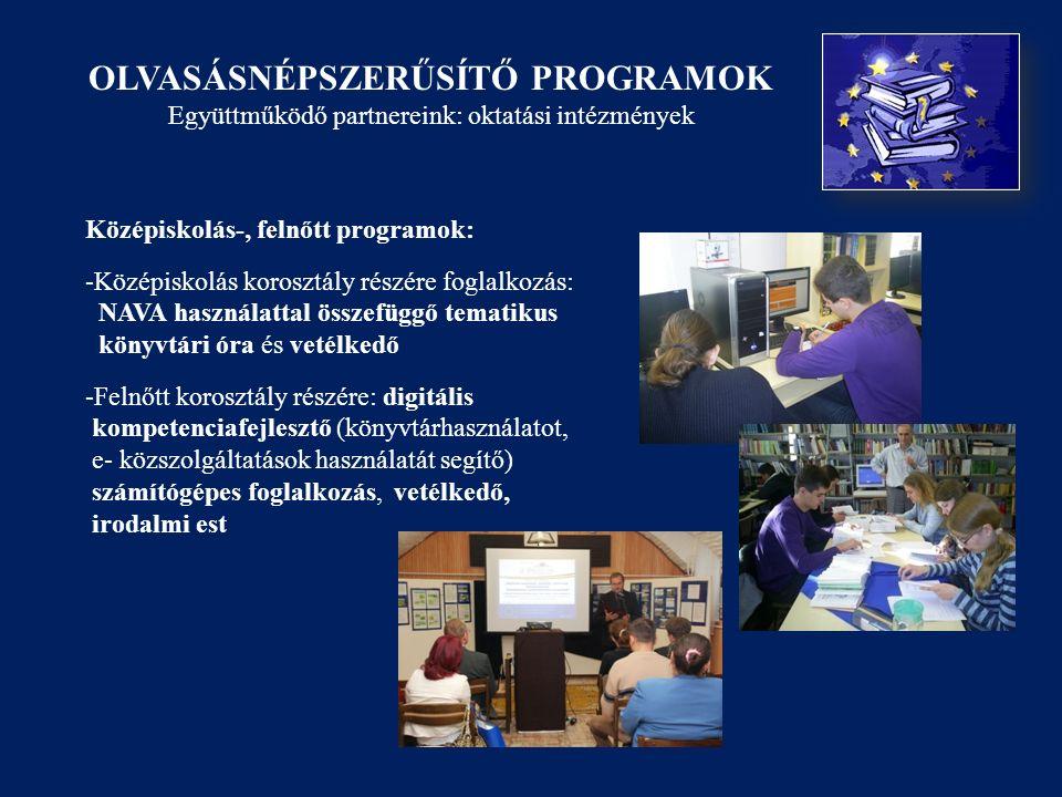OLVASÁSNÉPSZERŰSÍTŐ PROGRAMOK Együttműködő partnereink: oktatási intézmények Középiskolás-, felnőtt programok: -Középiskolás korosztály részére foglalkozás: NAVA használattal összefüggő tematikus könyvtári óra és vetélkedő -Felnőtt korosztály részére: digitális kompetenciafejlesztő (könyvtárhasználatot, e- közszolgáltatások használatát segítő) számítógépes foglalkozás, vetélkedő, irodalmi est