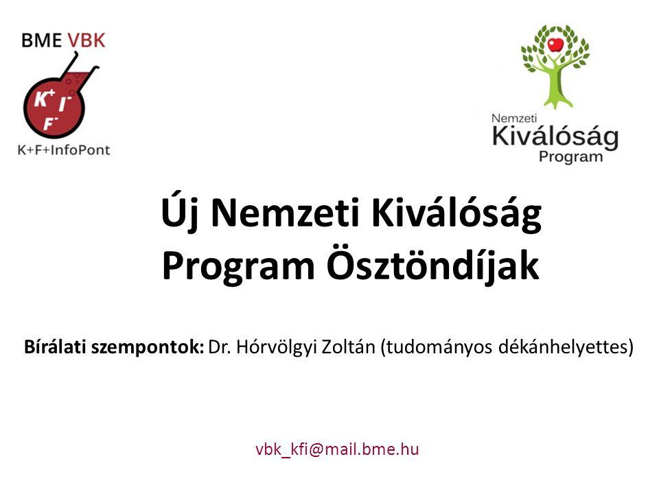 Új Nemzeti Kiválóság Program Ösztöndíjak Bírálati szempontok: Dr.