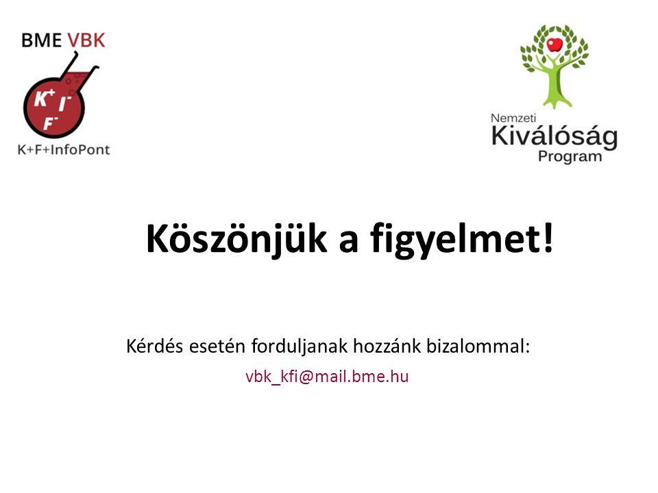 Köszönjük a figyelmet! Kérdés esetén forduljanak hozzánk bizalommal: vbk_kfi@mail.bme.hu