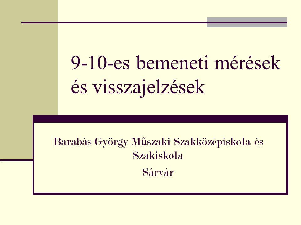 9-10-es bemeneti mérések és visszajelzések Barabás György M ű szaki Szakközépiskola és Szakiskola Sárvár