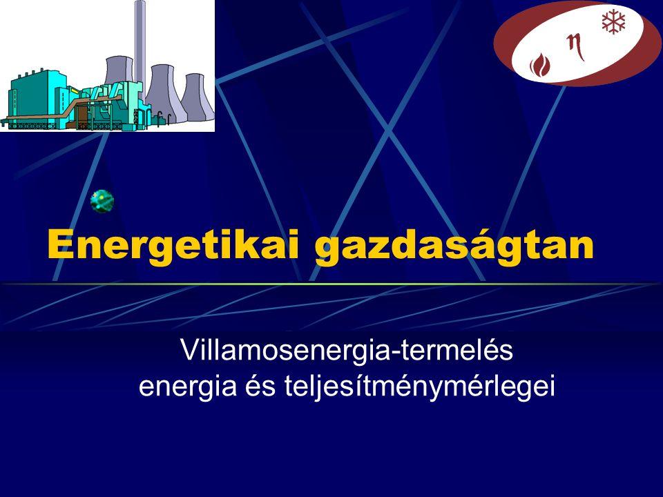 Energetikai gazdaságtan Villamosenergia-termelés energia és teljesítménymérlegei