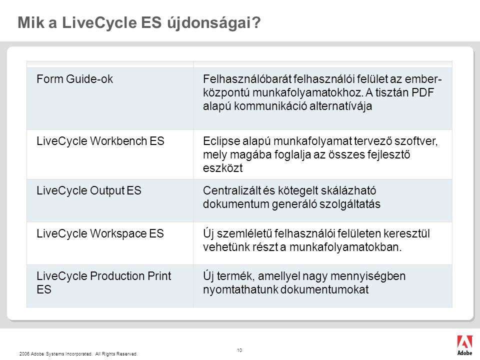 2006 Adobe Systems Incorporated. All Rights Reserved. 10 Mik a LiveCycle ES újdonságai? Form Guide-okFelhasználóbarát felhasználói felület az ember- k