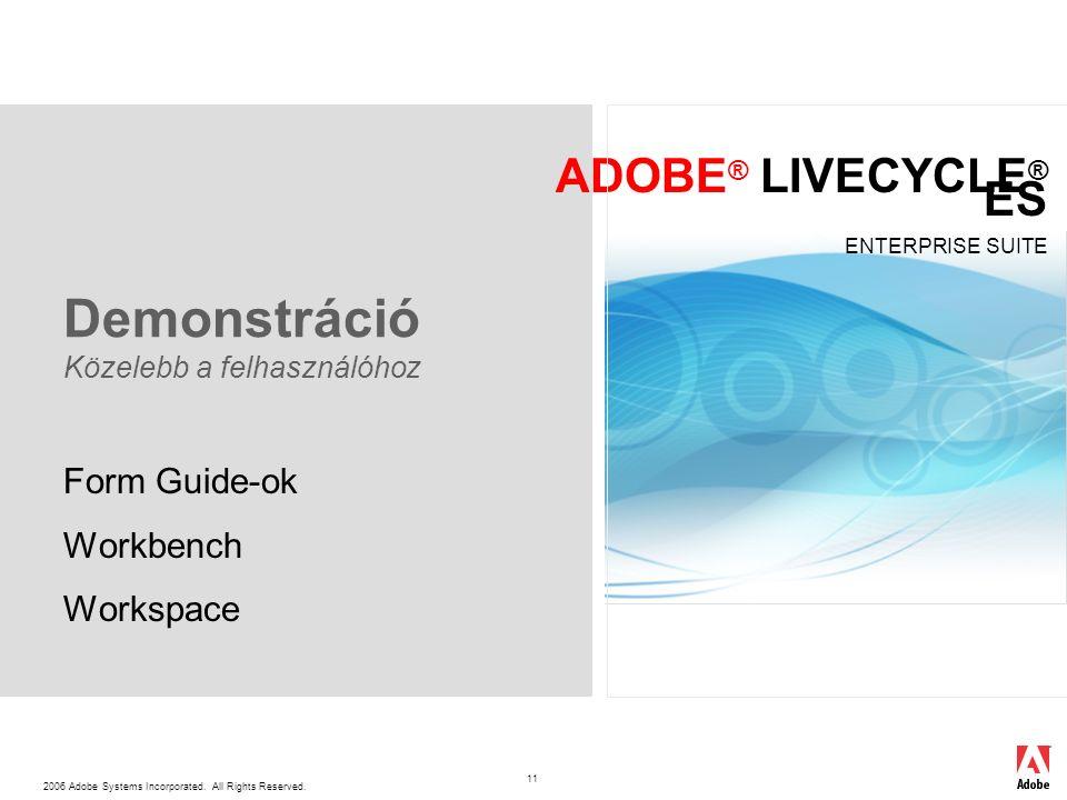 2006 Adobe Systems Incorporated. All Rights Reserved. ADOBE ® LIVECYCLE ® ES ENTERPRISE SUITE 11 Demonstráció Közelebb a felhasználóhoz Form Guide-ok
