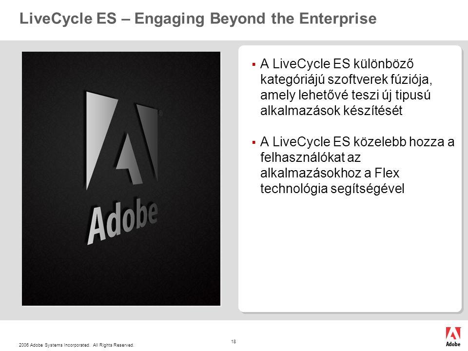 2006 Adobe Systems Incorporated. All Rights Reserved. 18 LiveCycle ES – Engaging Beyond the Enterprise  A LiveCycle ES különböző kategóriájú szoftver