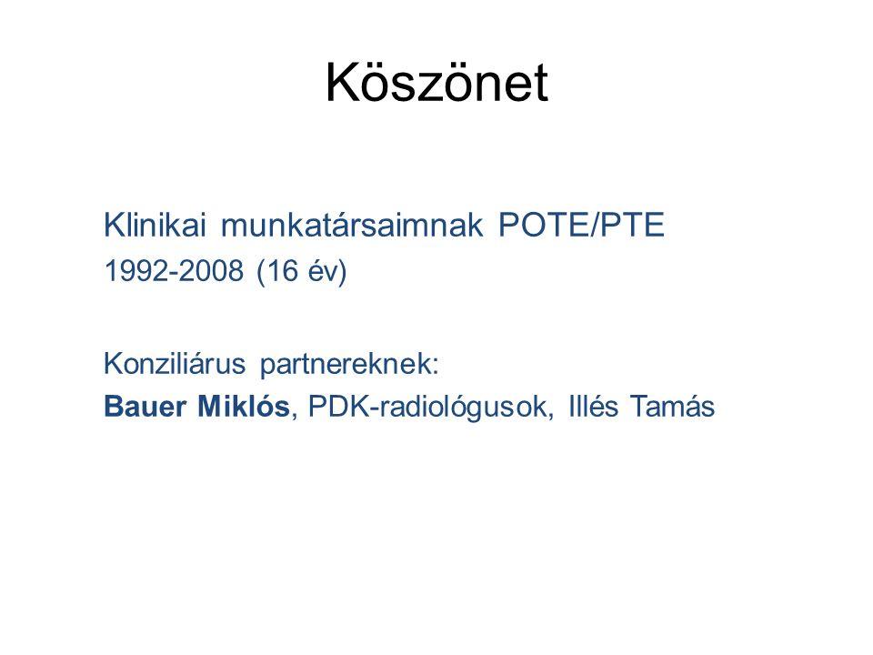 Köszönet Klinikai munkatársaimnak POTE/PTE 1992-2008 (16 év) Konziliárus partnereknek: Bauer Miklós, PDK-radiológusok, Illés Tamás