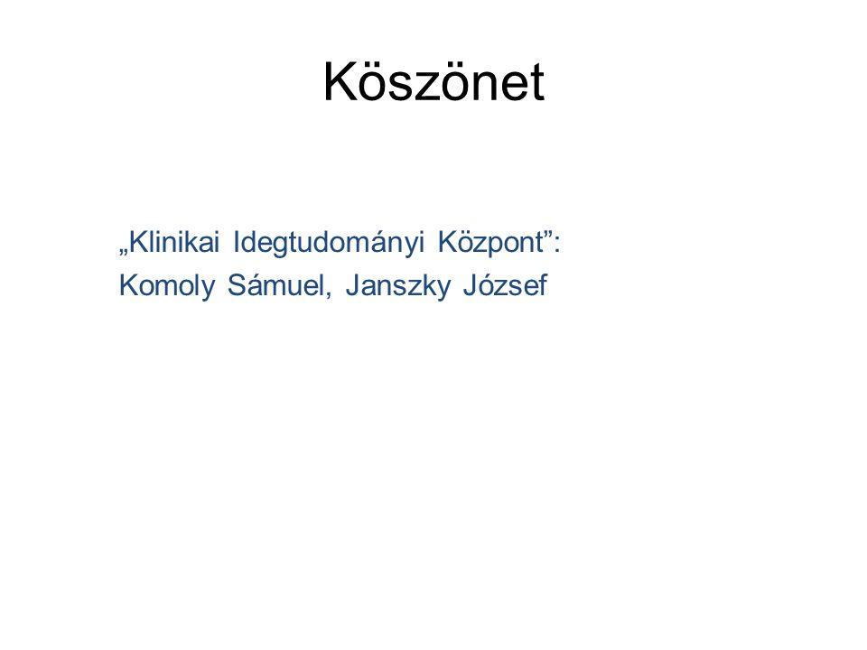 """Köszönet """"Klinikai Idegtudományi Központ : Komoly Sámuel, Janszky József"""