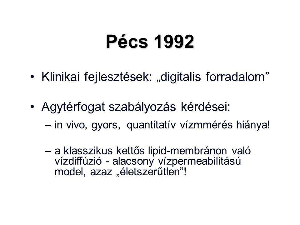 """Pécs 1992 Klinikai fejlesztések: """"digitalis forradalom Agytérfogat szabályozás kérdései: –in vivo, gyors, quantitatív vízmmérés hiánya."""