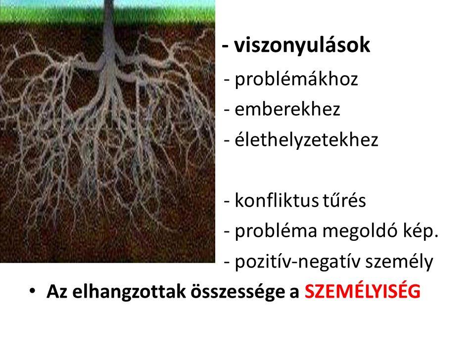 - viszonyulások - problémákhoz - emberekhez - élethelyzetekhez - konfliktus tűrés - probléma megoldó kép. - pozitív-negatív személy Az elhangzottak ös