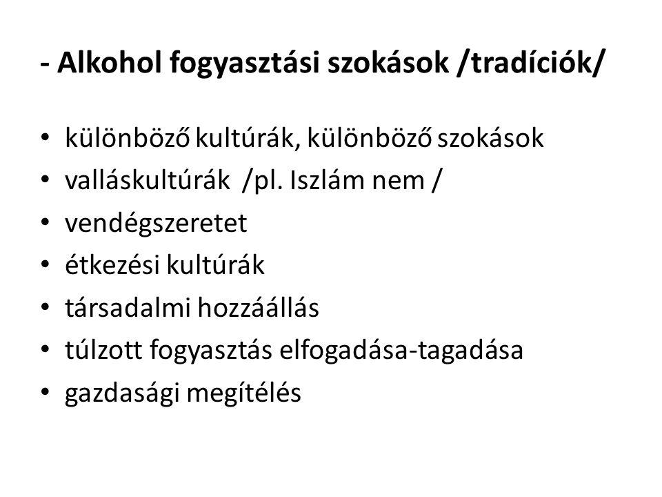 - Alkohol fogyasztási szokások /tradíciók/ különböző kultúrák, különböző szokások valláskultúrák /pl. Iszlám nem / vendégszeretet étkezési kultúrák tá