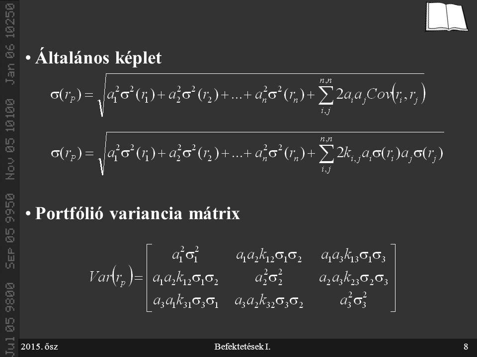 2015. őszBefektetések I.8 Általános képlet Portfólió variancia mátrix