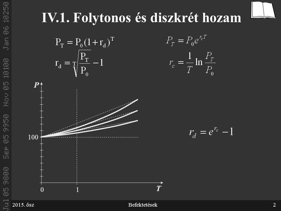 2015. őszBefektetések2 100 P T 01 IV.1. Folytonos és diszkrét hozam