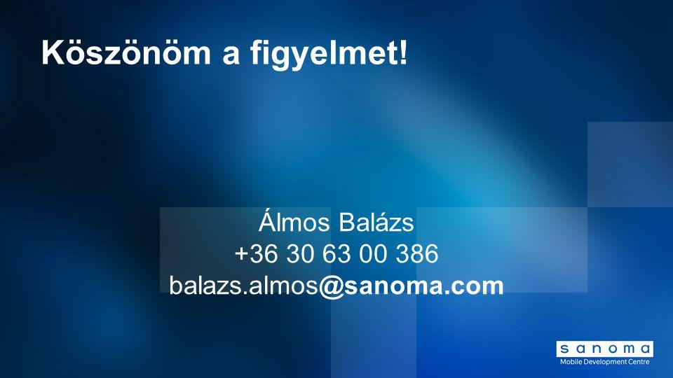 Köszönöm a figyelmet! Álmos Balázs +36 30 63 00 386 balazs.almos@sanoma.com