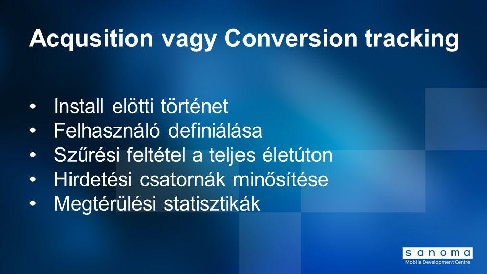 Acqusition vagy Conversion tracking Install elötti történet Felhasználó definiálása Szűrési feltétel a teljes életúton Hirdetési csatornák minősítése