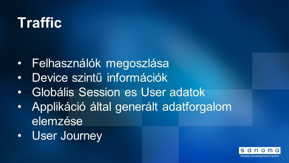Traffic Felhasználók megoszlása Device szintű információk Globális Session es User adatok Applikáció által generált adatforgalom elemzése User Journey