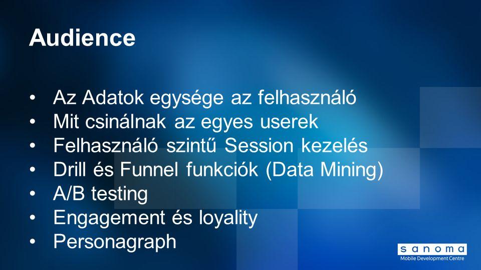 Audience Az Adatok egysége az felhasználó Mit csinálnak az egyes userek Felhasználó szintű Session kezelés Drill és Funnel funkciók (Data Mining) A/B