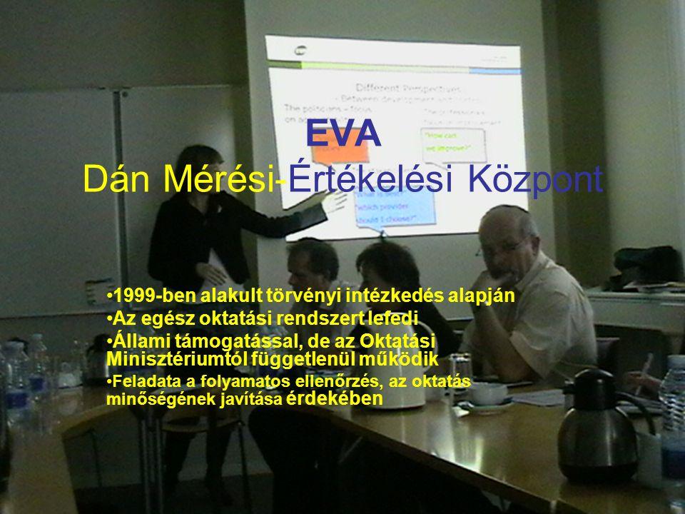 EVA Dán Mérési-Értékelési Központ 1999-ben alakult törvényi intézkedés alapján Az egész oktatási rendszert lefedi Állami támogatással, de az Oktatási Minisztériumtól függetlenül működik Feladata a folyamatos ellenőrzés, az oktatás minőségének javítása érdekében