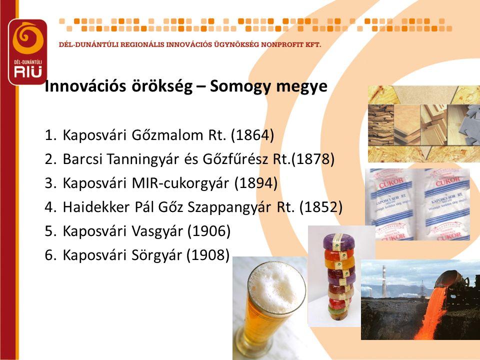 Innovációs örökség – Somogy megye 1.Kaposvári Gőzmalom Rt. (1864) 2.Barcsi Tanningyár és Gőzfűrész Rt.(1878) 3.Kaposvári MIR-cukorgyár (1894) 4.Haidek