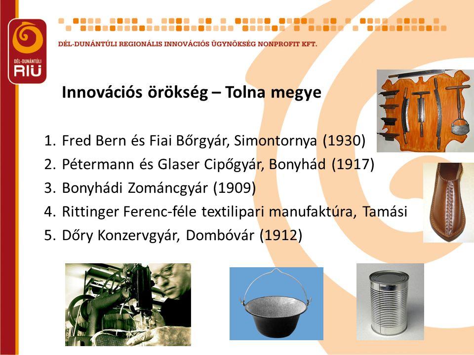 Innovációs örökség – Tolna megye 1.Fred Bern és Fiai Bőrgyár, Simontornya (1930) 2.Pétermann és Glaser Cipőgyár, Bonyhád (1917) 3.Bonyhádi Zománcgyár (1909) 4.Rittinger Ferenc-féle textilipari manufaktúra, Tamási 5.Dőry Konzervgyár, Dombóvár (1912)